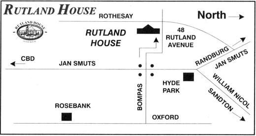 Map Rutland House B&B in Craighall Park  Northcliff/Rosebank  Johannesburg  Gauteng  South Africa