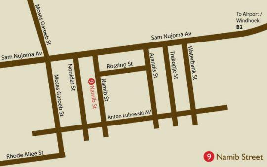 Map PebbleStoneHouse in Swakopmund  Erongo  Namibia
