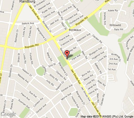 Map Sleekhostel and Boarding House in Bourdeaux  Randburg  Johannesburg  Gauteng  South Africa