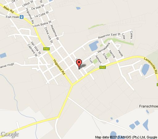 Map Akademie Boutique Hotel in Franschhoek  Cape Winelands  Western Cape  South Africa