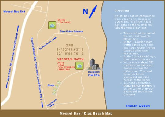 Map Diaz Beach Haven in Mossel Bay  Garden Route  Western Cape  South Africa