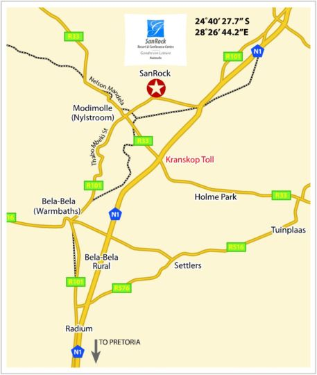 Map Gooderson Sanrock Resort & Conference Centre in Modimolle  Nylstroom  Bushveld  Limpopo  South Africa