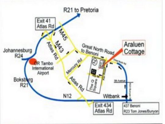 Map Araluen Cottage- Benoni in Benoni  Ekurhuleni (East Rand)  Gauteng  South Africa