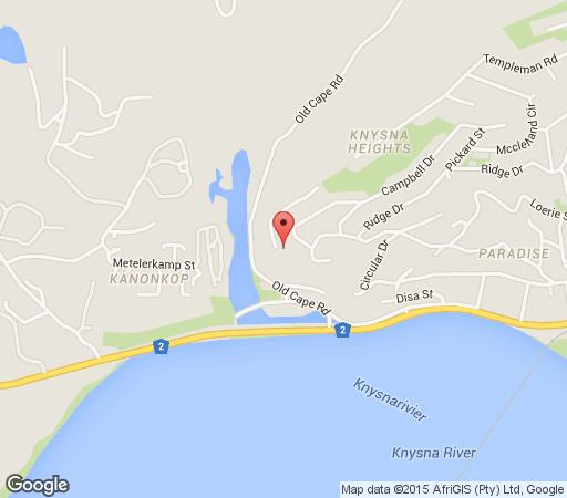 Map Guadeloupe Self Catering in Knysna  Garden Route  Western Cape  South Africa