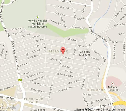 Map 12 Stars Lifestyle Apartments in Melville (JHB)  Northcliff/Rosebank  Johannesburg  Gauteng  South Africa