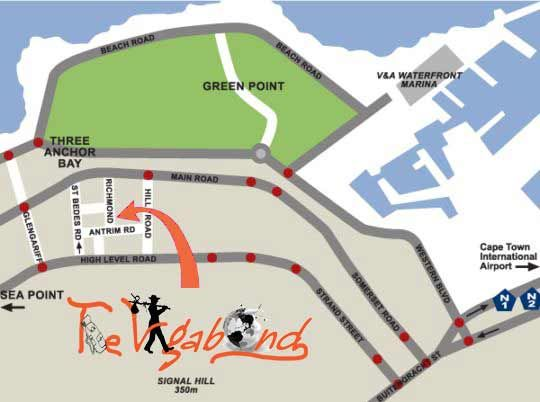 Map The Vagabond in Three Anchor Bay  Atlantic Seaboard  Cape Town  Western Cape  South Africa