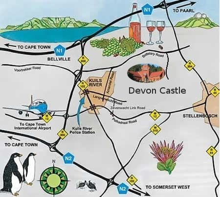 Map The Cottage At Devon Castle in Stellenbosch  Cape Winelands  Western Cape  South Africa