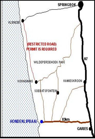 Map Honne-Hemel : Oubaas in Hondeklipbaai  Namakwaland  Northern Cape  South Africa