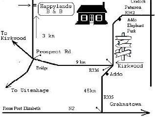 Map Happy Lands B&B in Addo  Cacadu (Sarah Baartman)  Eastern Cape  South Africa