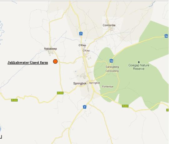 Map Jakkalswater Guestfarm in Springbok  Namakwaland  Northern Cape  South Africa