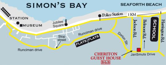 Map Cheriton Guest House B&B in Simon's Town  False Bay  Cape Town  Western Cape  South Africa