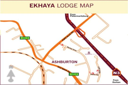 Map Ekhaya Lodge B & B in Ashburton  Pietermaritzburg  Midlands  KwaZulu Natal  South Africa