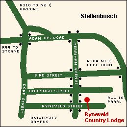 Map Ryneveld Country Lodge in Stellenbosch  Cape Winelands  Western Cape  South Africa