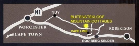 Map Buitenstekloof Mountain Cottages in Robertson  Breede River Valley  Western Cape  South Africa