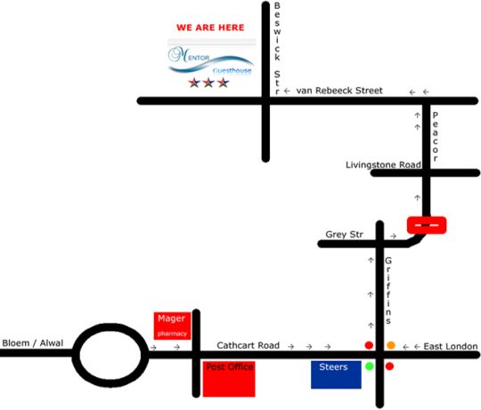 Map Mentor Guest House in Queenstown  Stormberg District  Eastern Cape  South Africa