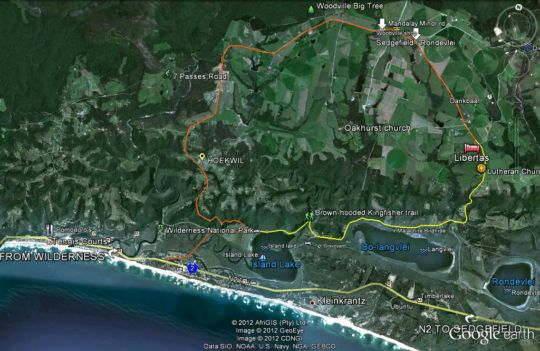 Map Libertas Guest Farm in Wilderness  Garden Route  Western Cape  South Africa