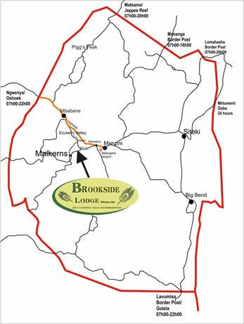 Map Brookside Lodge in Malkerns  Manzini (Region)  Swaziland