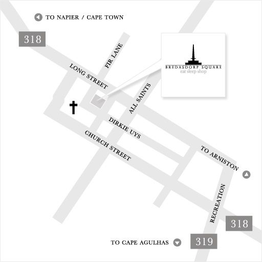 Map Bredasdorp Square in Bredasdorp  Overberg  Western Cape  South Africa