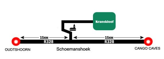 Map Kranskloof Country Lodge in Oudtshoorn  Klein Karoo  Western Cape  South Africa