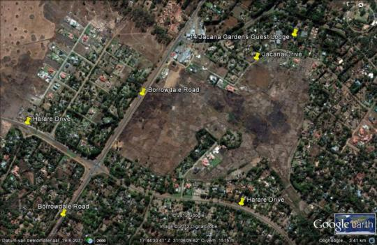 Map Jacana Gardens Guest Lodge in Harare  Zimbabwe