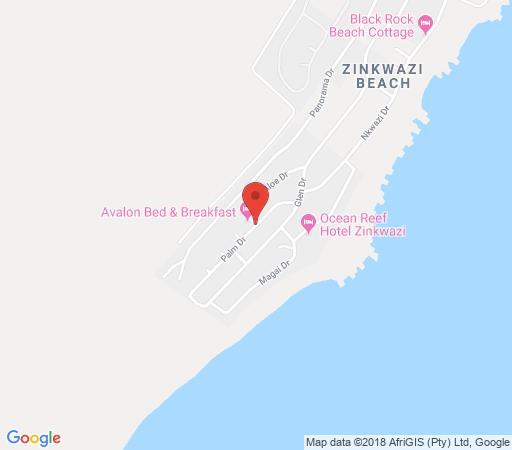 Map Avalon Bed & Breakfast in Zinkwazi Beach  North Coast (KZN)  KwaZulu Natal  South Africa