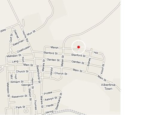 Map Guineafowl Bed and Breakfast in Albertinia  Garden Route  Western Cape  South Africa