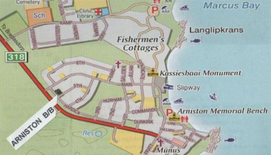 Map Arniston B&B in Arniston  Overberg  Western Cape  South Africa