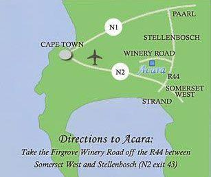 Map Acara in Stellenbosch  Cape Winelands  Western Cape  South Africa