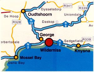 Map Xanadu Guest Villa in Wilderness  Garden Route  Western Cape  South Africa