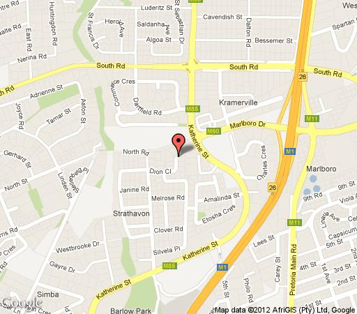 Map Strathavon Bed & Breakfast in Sandton Central  Sandton  Johannesburg  Gauteng  South Africa
