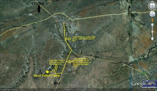 Map Sasa Safari Camp in Etosha National Park  Kunene  Namibia