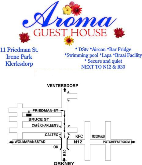 Map Aroma Guesthouse in Klerksdorp  Southern (NW)  North West  South Africa