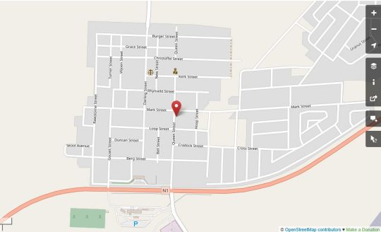 Map Hanover Lodge Hotel in Hanover  Upper Karoo  Northern Cape  South Africa