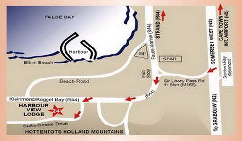 Map Harbour View Lodge in Gordon's Bay  Helderberg  Western Cape  South Africa