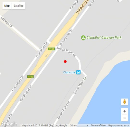 Map Carisford Lodge in Clansthal  South Coast (KZN)  KwaZulu Natal  South Africa