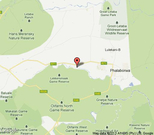 Map Marakapula Reserve in Phalaborwa  Valley of the Olifants  Limpopo  South Africa