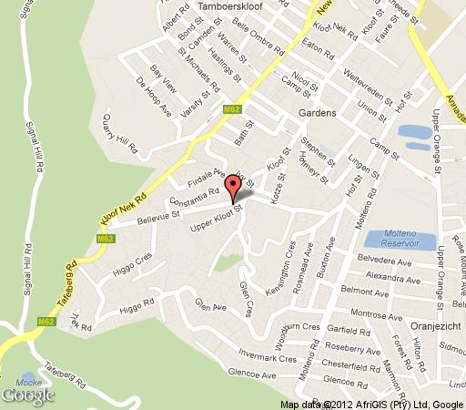 Map Blue Sky Cottages in Oranjezicht  City Bowl  Cape Town  Western Cape  South Africa