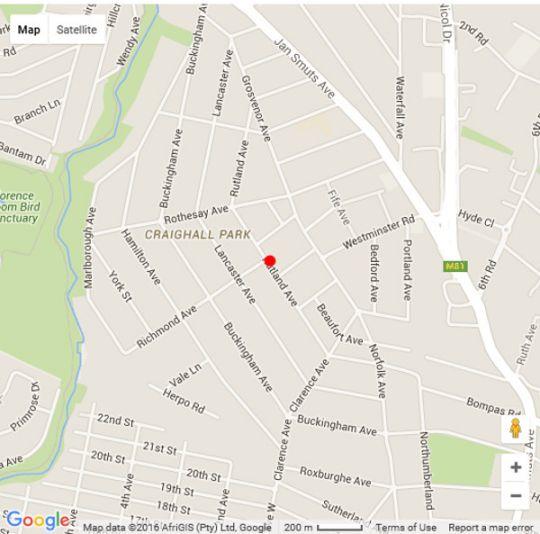 Map Amanzi Guest House in Craighall Park  Northcliff/Rosebank  Johannesburg  Gauteng  South Africa