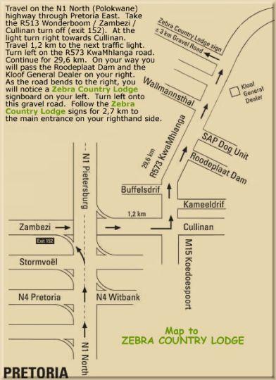 Map Zebra Country Lodge in Leeufontein  Pretoria North  Pretoria / Tshwane  Gauteng  South Africa