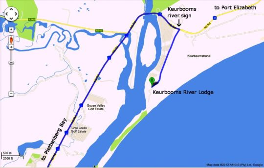 Map Keurbooms River Lodge in Plettenberg Bay  Garden Route  Western Cape  South Africa