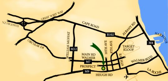 Map Hacklewood Hill Country House in Walmer  Port Elizabeth  Cacadu (Sarah Baartman)  Eastern Cape  South Africa