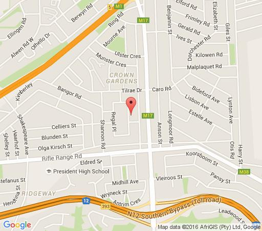 Map Regal Guest House in Crown Gardens  Johannesburg South  Johannesburg  Gauteng  South Africa