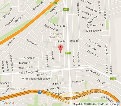 Map Regal Guest House in Crown Gardens  Johannesburg South  Johannesburg  Gauteng  Suid-Afrika
