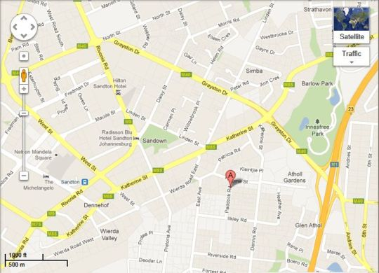 Map Atholl Guest House in Sandton Central  Sandton  Johannesburg  Gauteng  South Africa