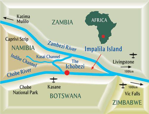 Map Ichingo Chobe River Lodge in Impalila Island  Zambezi (Caprivi)  Namibia