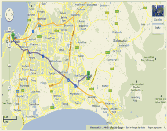 Map Community Women Action B&B in Firgrove  Helderberg  Western Cape  South Africa