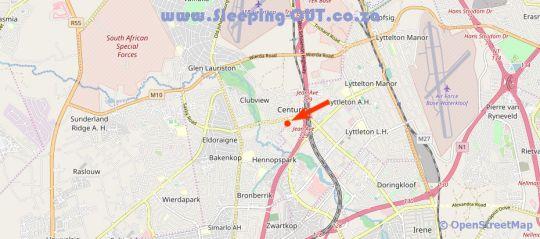 Map Kleinkaap Boutique Hotel in Centurion Central  Centurion  Pretoria / Tshwane  Gauteng  South Africa