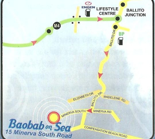 Map Baobab on Sea in Ballito  North Coast (KZN)  KwaZulu Natal  South Africa