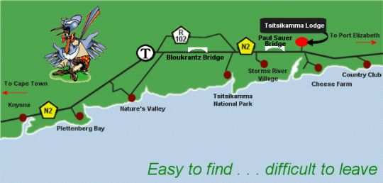 Map Tsitsikamma Lodge an Spa in Storms River  Tsitsikamma  Garden Route  Western Cape  South Africa