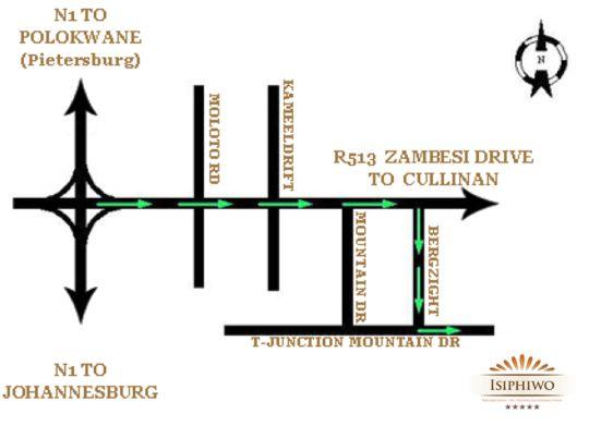 Map Isiphiwo Boutique Hotel & Spa in Derdepoort  Pretoria North  Pretoria / Tshwane  Gauteng  South Africa